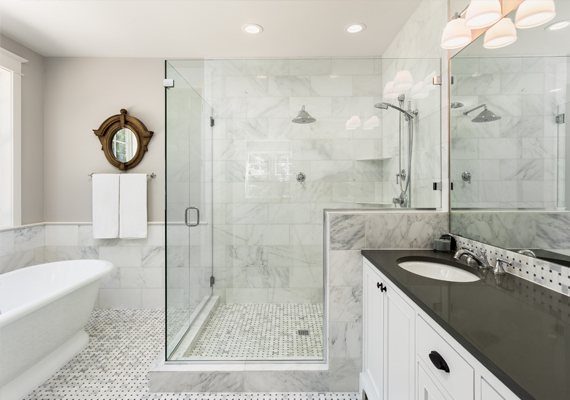 A sliding shower door is great for a small bathroom