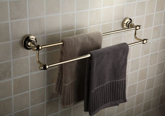 A towel bar is a necessary addition beside the sink of your bathroom