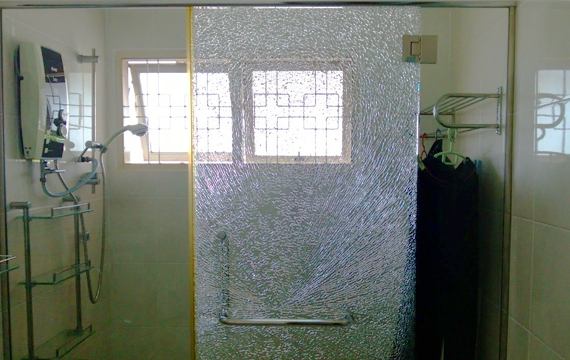 damaged glass shower door